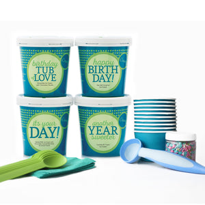 Birthday Ice Cream Party Collection - 4 Pints + Party Pack & Toppings