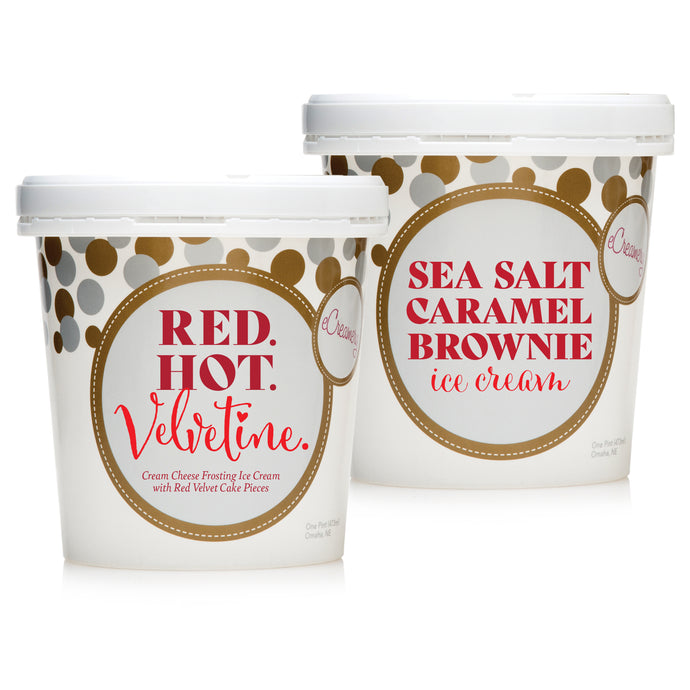 Bonus 2 Pints - Red Velvet Cake + Sea Salt Caramel Brownie