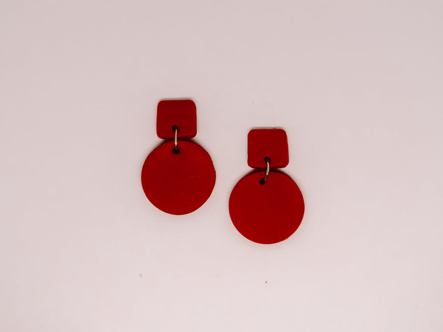 Red Geometric Clay Earrings