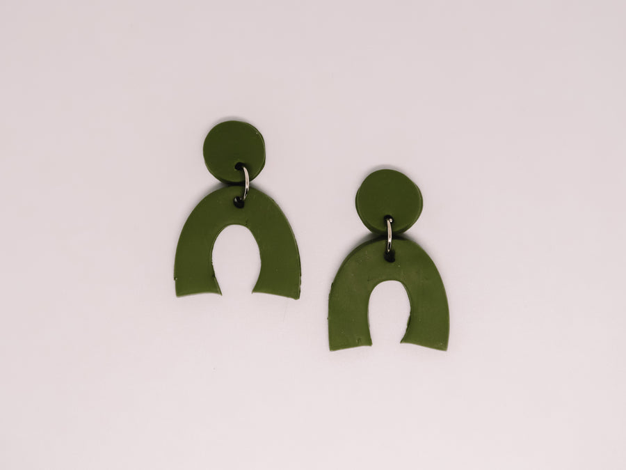 Modern Green Clay Earrings