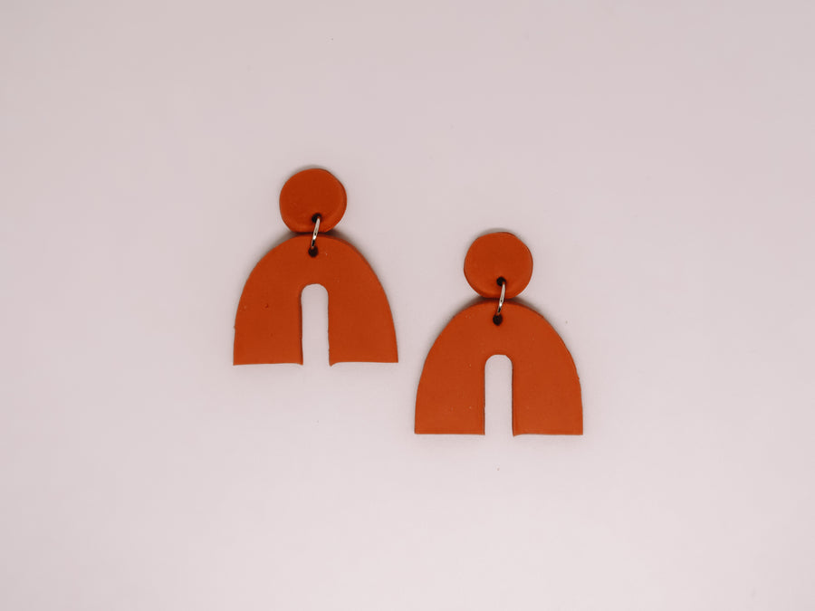 Burnt Orange Arch Clay Earrings
