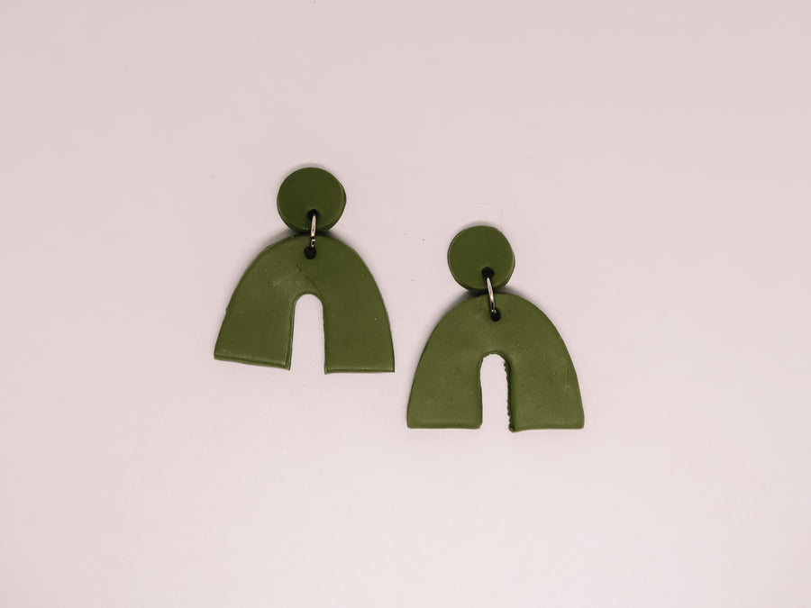Green Arch Clay Earrings