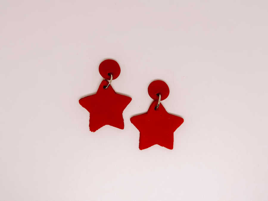 Red Star Clay Earrings