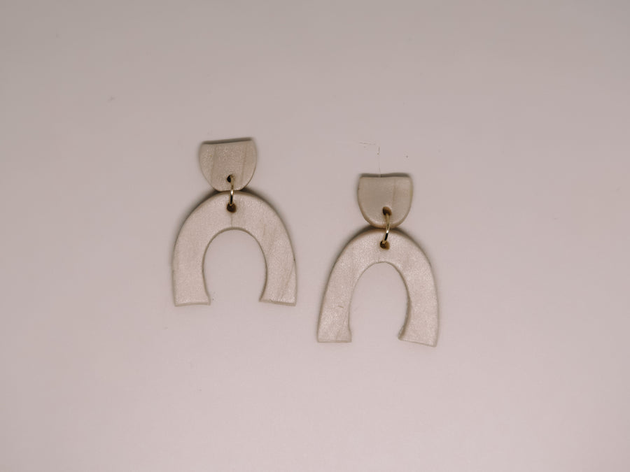 Frosty White Clay Earrings