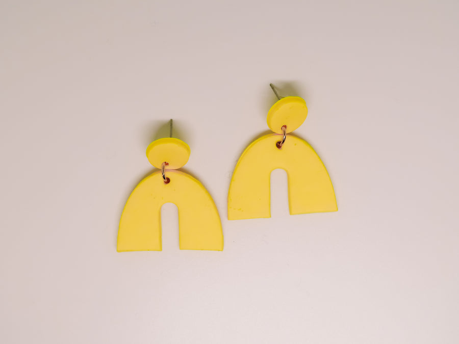 Yellow Arch Clay Earrings