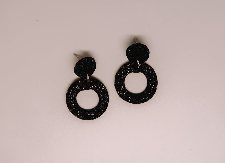 Black Sparkle Clay Earrings