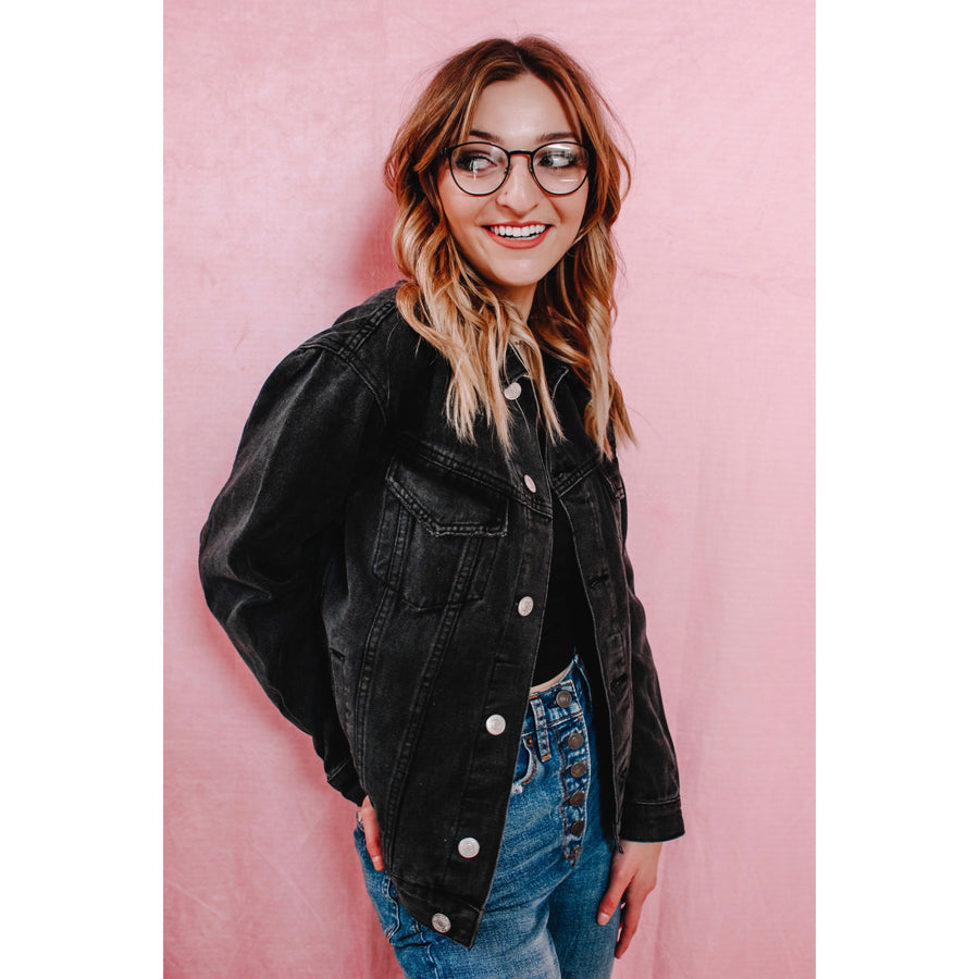 Cadence Black Denim Jacket