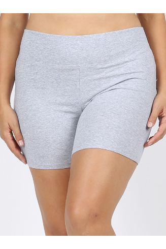 Cotton bike shorts in heathered grey