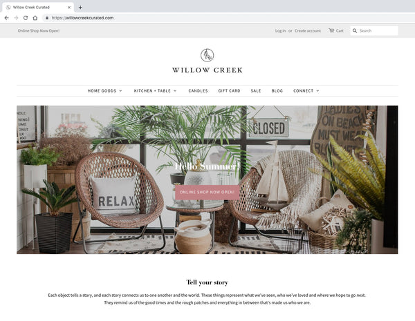 Online Shop Now Open Willow Creek