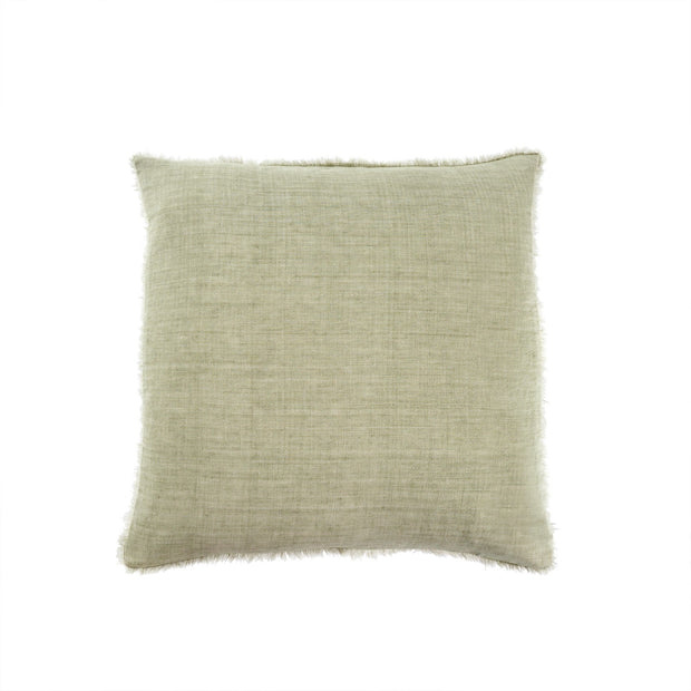 "24"" Lina Linen Pillow, Olive"