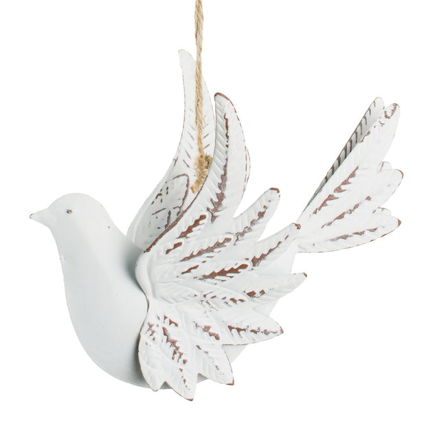 Stamped White Metal Dove Ornament