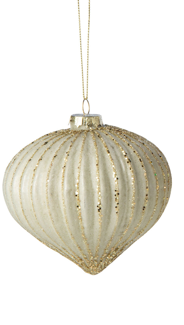 Ivory Fluted Glass Ornament