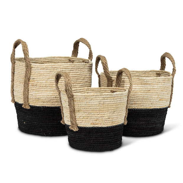 2 Tone Black Round Baskets with Jute Handles