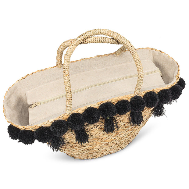 Tote with Tassels and Pompoms
