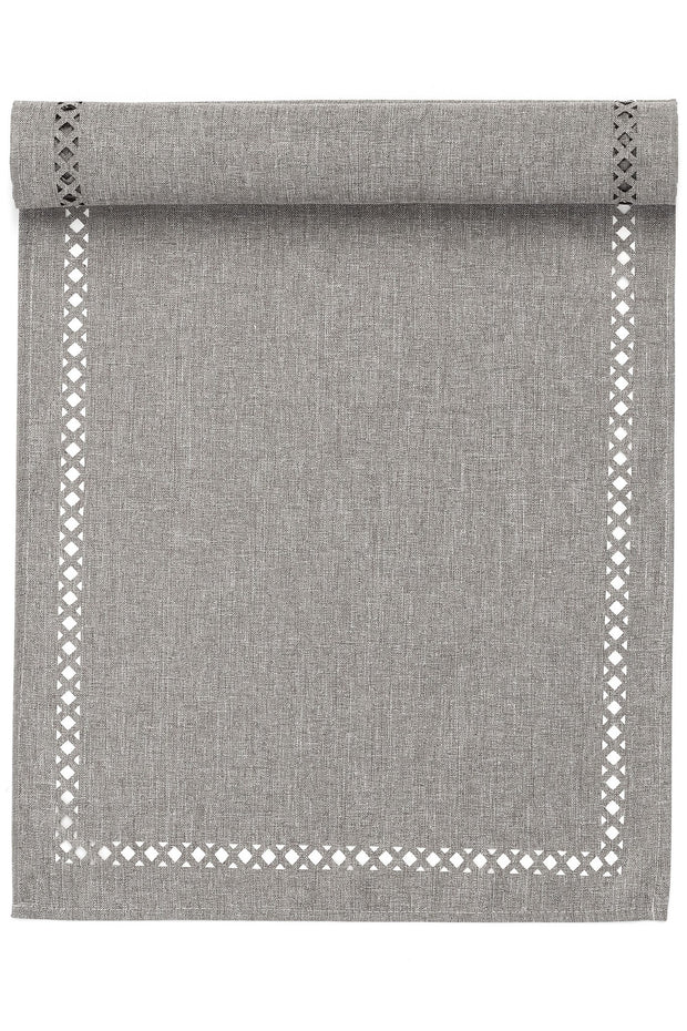 Cut-Out Light Grey Table Runner