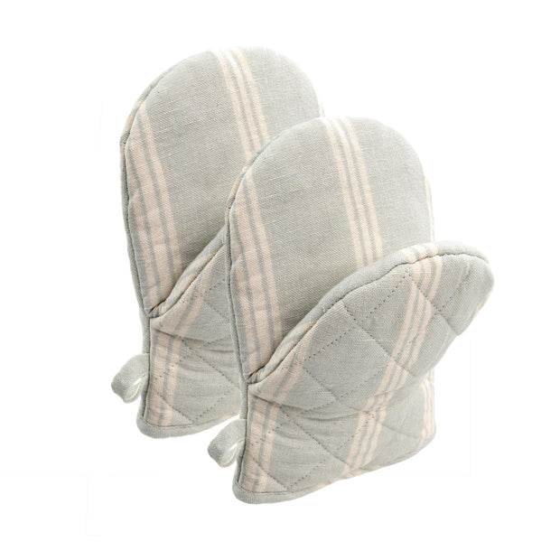 Aqua French Linen Oven Mitts