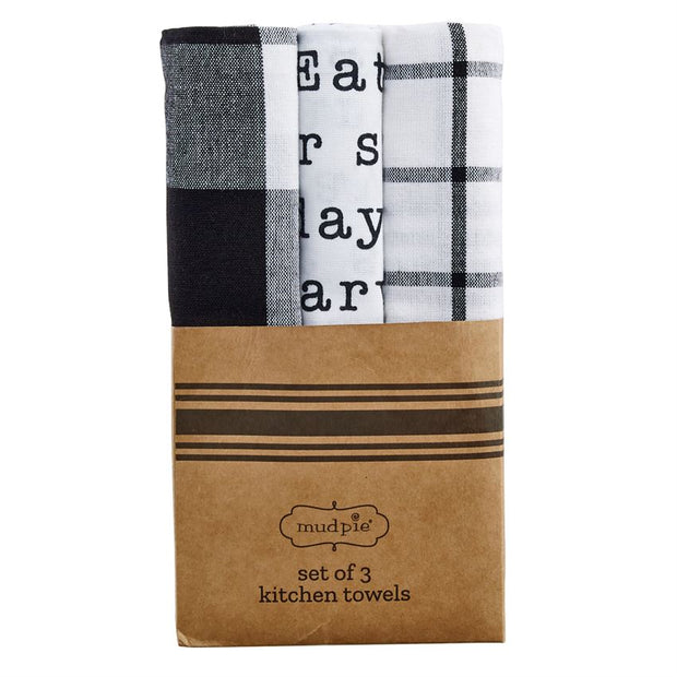 Black & White Dish Towel Set