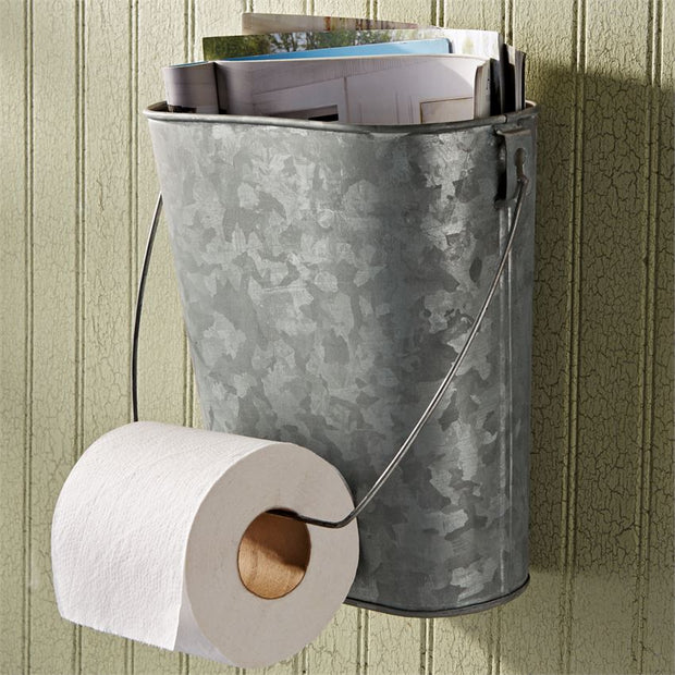 Tin Bucket Toilet Paper Holder
