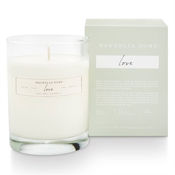 Magnolia Home Boxed Glass Love Candle