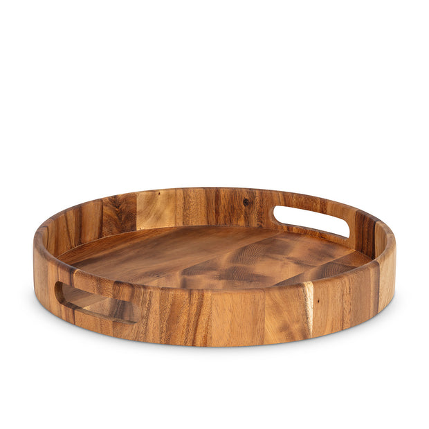 Round Acacia Wood Tray with Handles