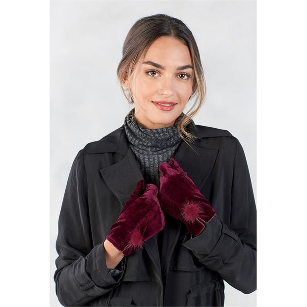 Velvet Fur Poof Gloves