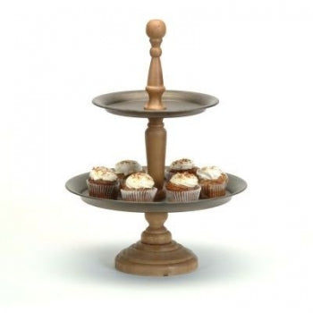 2 Tier Metal and Wood Stand