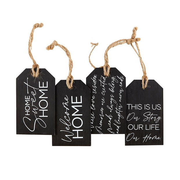 Black Wooden Tags