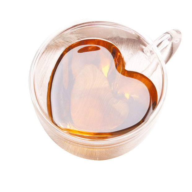 Double Walled Glass Heart Cup