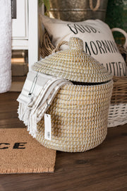 White Coiled Grass Hamper