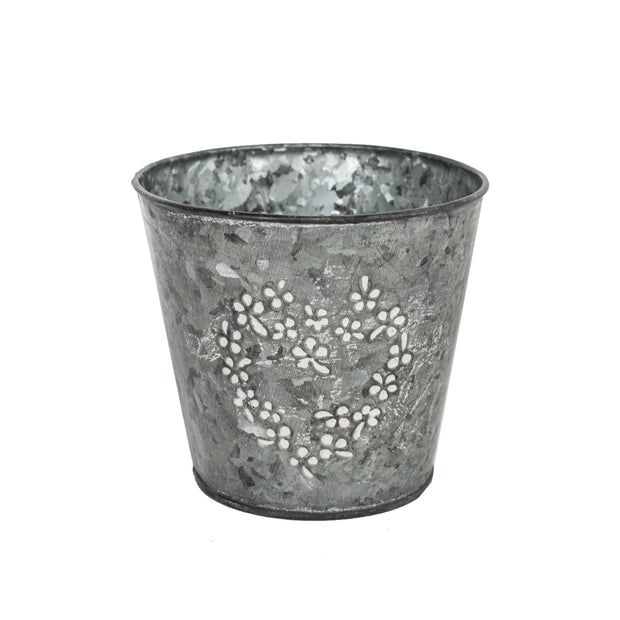 Metal Pot with Flower Heart