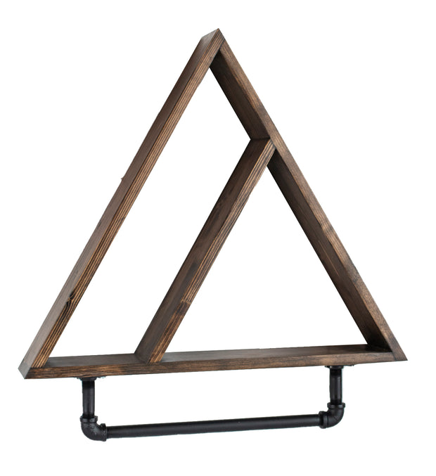Industrial Triangle Wood Shelf with Pipe Towel Holder