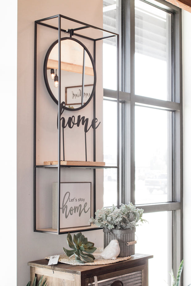 Hanging Wall Shelf with Mirror