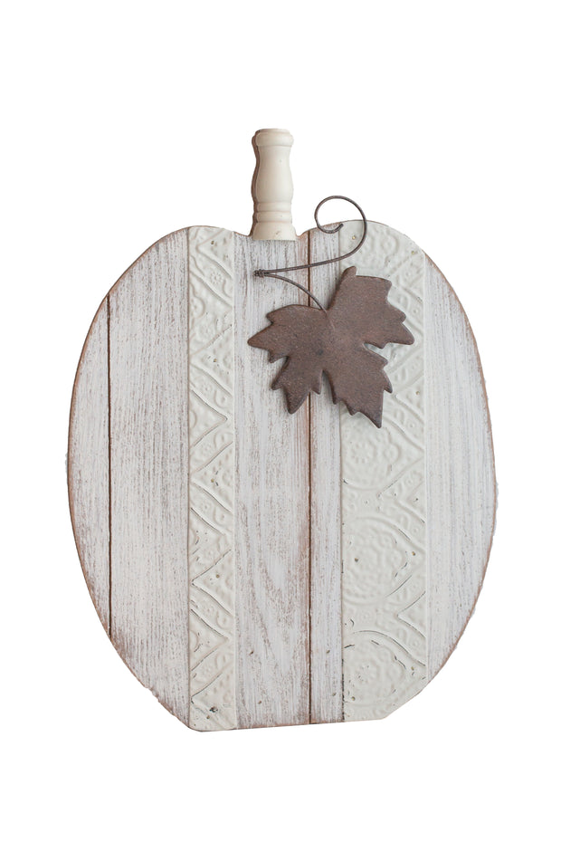 White Wood and Metal Pumpkin
