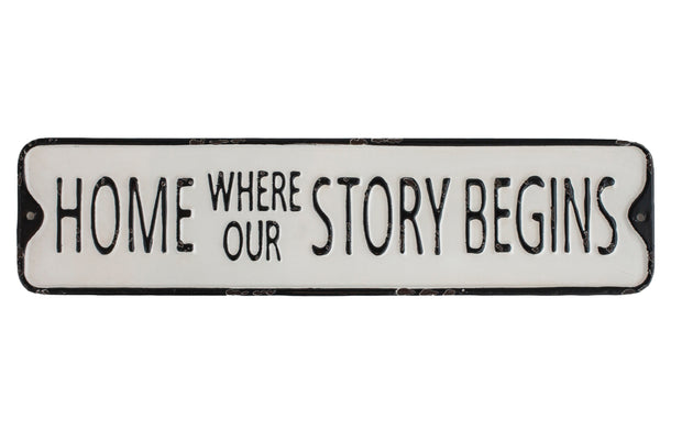 Our Story Begins Metal Sign