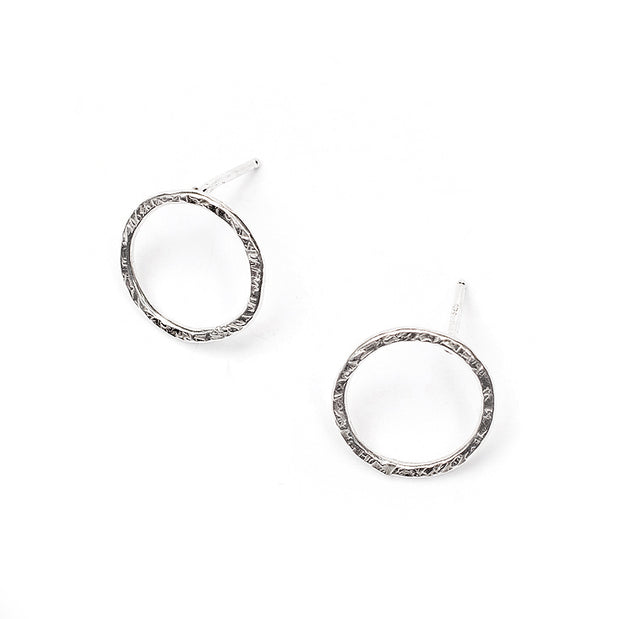 Linen Textured Circle Earrings