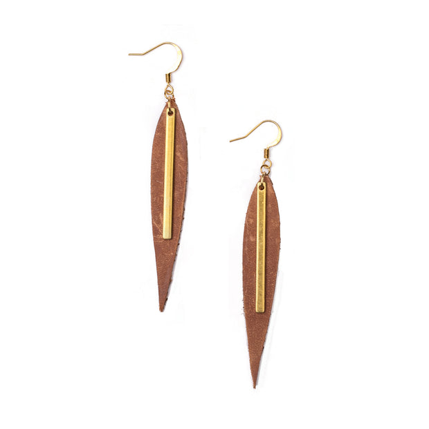 Leather Willow Leaf Earrings