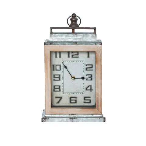 Metal Wood Table Clock
