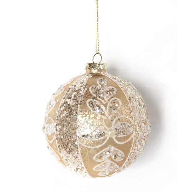 Ivory Silver Ball Ornament