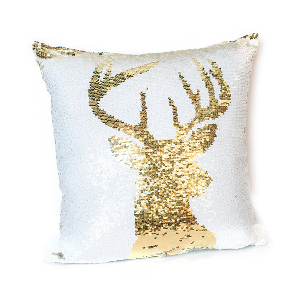 Gold White Deer Sequin Pillow