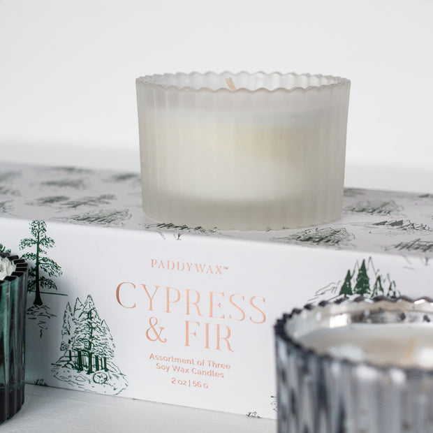 Cypress & Fir 2 Oz Ribbed Mercury Glass Boxed Gift Set of 3