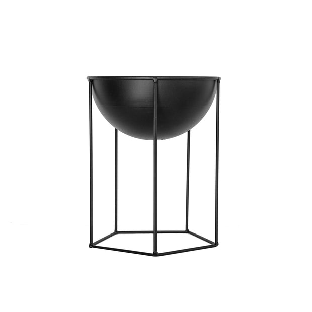 Black Metal Bowl on Stand