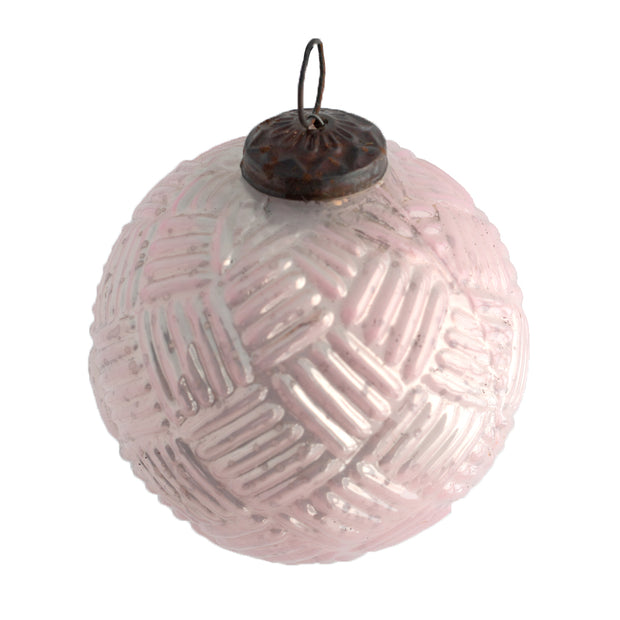 Pink Check Glass Ornament