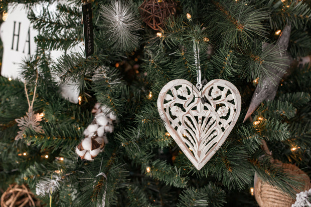White Wood Carved Heart