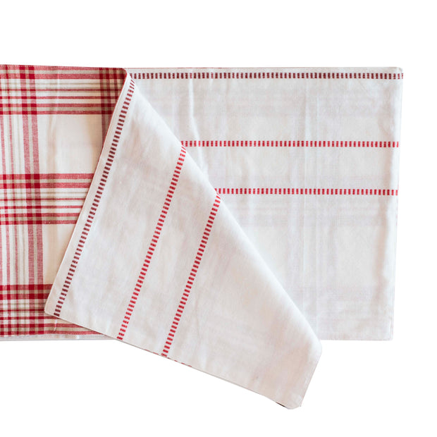 White Red Plaid Table Runner