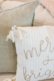 Gold Merry + Bright Velvet Tassel Pillow