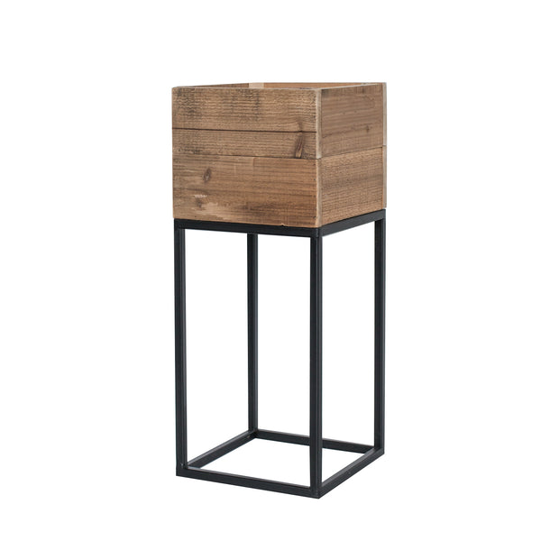 Black Wood Square Planter
