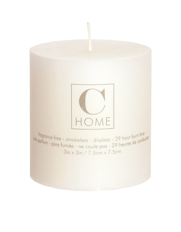 "3""D Ivory Pillar Candle"