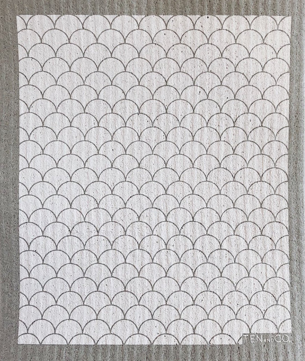 Scallop White/Grey Sponge Cloth