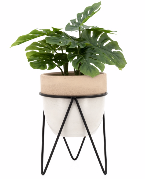 "Sedona 6.5""D Planter On Metal Stand"