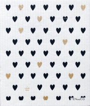 Heart Gold/Black Sponge Cloth
